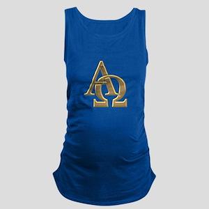 """3-D"" Golden Alpha and Omega Symbol Maternity Tank"