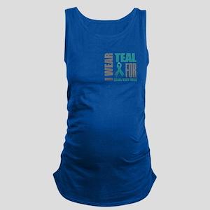 Teal Awareness Ribbon Customize Maternity Tank Top