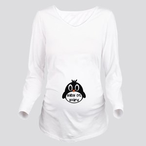 Baby On Board Penguin Long Sleeve Maternity T-Shir