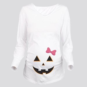 Pumpkin Face Pink Bo Long Sleeve Maternity T-Shirt