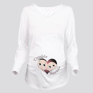 Cute Double Trouble Long Sleeve Maternity T-Shirt