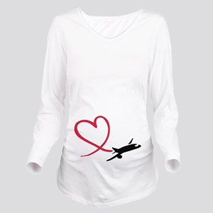 Airplane heart Long Sleeve Maternity T-Shirt