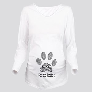 Dog Paw Print Person Long Sleeve Maternity T-Shirt