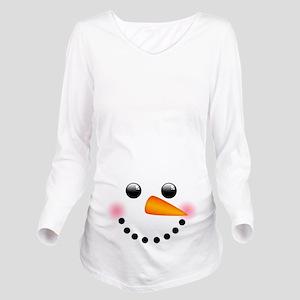 2b84423db1d86 Snowman Face Long Sleeve Maternity T-Shirt