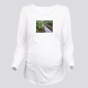 OLD FLORIDA FISH POND Long Sleeve Maternity T-Shir