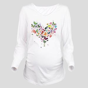 Heart of Butterflies Long Sleeve Maternity T-Shirt