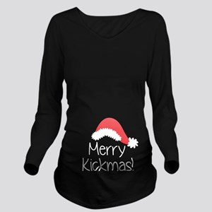 Merry Kickmas Long Sleeve Maternity T-Shirt