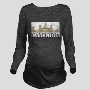Cambodia Angkor Wat Long Sleeve Maternity T-Shirt