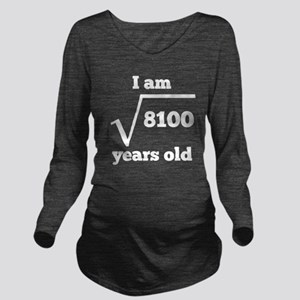 90th Birthday Square Root Long Sleeve Maternity T-