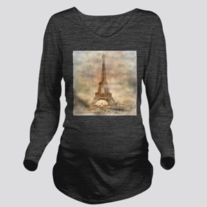 Vintage Paris Long Sleeve Maternity T-Shirt