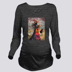 Witch Way Halloween Witch Art Long Sleeve Maternit
