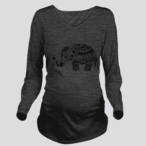 Cute Floral Elephant Long Sleeve Maternity T-Shirt