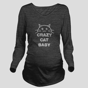 Crazy Cat Baby Long Sleeve Maternity T-Shirt