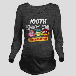 Owl 100 Days Kinderg Long Sleeve Maternity T-Shirt