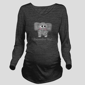 Cute Elephant Personalized Long Sleeve Maternity T