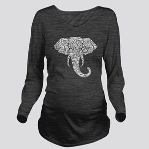 Lace Elephant Long Sleeve Maternity T-Shirt