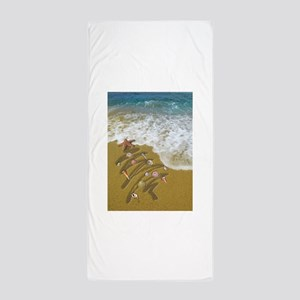 Christmas Seashells and Tree Washed Up Beach Towel