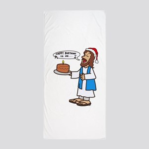 Happy Birthday Jesus Christmas Beach Towel