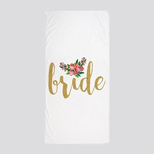 Gold Glitter Bride text floral accent Beach Towel