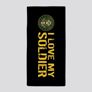 U.S. Army: I Love My Soldier (Black & Beach Towel