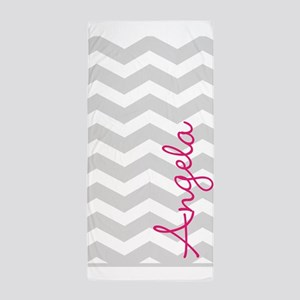 Personal name grey chevron Beach Towel