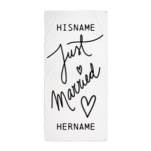 Just Married Hearts Personalized Beach Towel