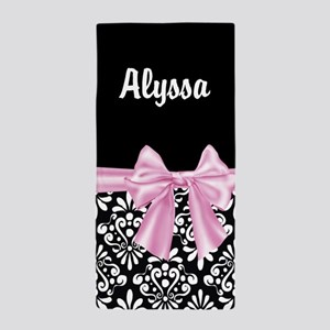 Black Pink Bow Damask Personalized Beach Towel