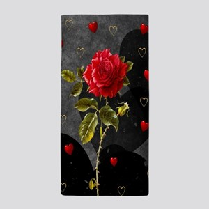Red Rose Black Hearts Beach Towel