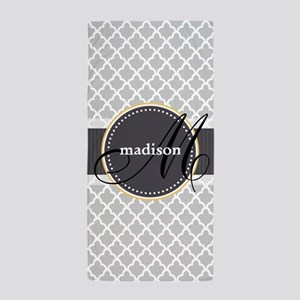 Monogram and Name on Gray Quatrefoil Pattern Beach