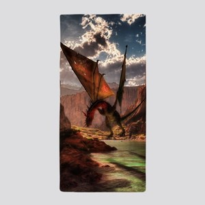 Fantasy dragon in the mountains Beach Towel