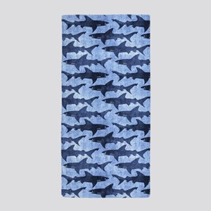 Sharks in the Blue Sea Beach Towel