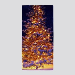 Christmas Tree With Lights Beach Towel