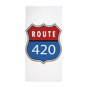 Route 420 Interstate Sign Beach Towel