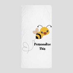 Personalized Cute Bumble Bee Beach Towel