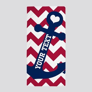Personalized Nautical Chevron Anchor Beach Towel