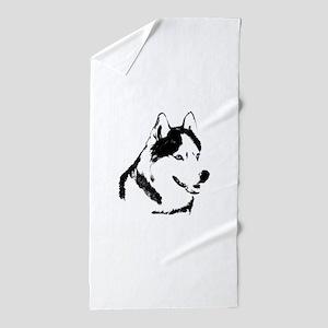 Husky Malamute Sled Dog Beach Towel