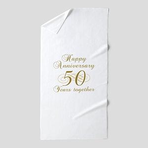 50th Anniversary (Gold Script) Beach Towel