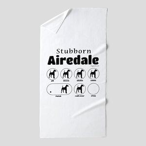Stubborn Airedale v2 Beach Towel