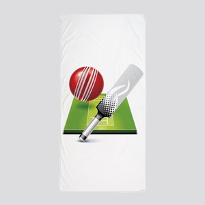 Cricket pitch bat ball Beach Towel