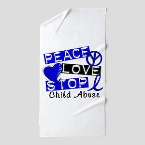 Peace Love Stop Child Abuse 1 Beach Towel