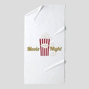 Movie Night Popcorn Beach Towel