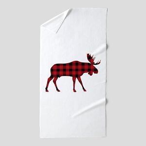 Plaid Moose Animal Silhouette Beach Towel