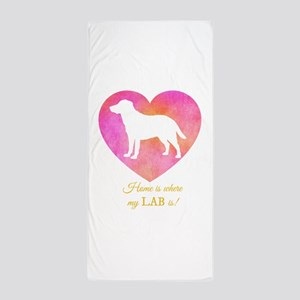 home is where my lab is Beach Towel