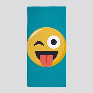 Winky Tongue Emoji Beach Towel