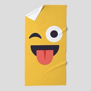 Winky Tongue Emoji Face Beach Towel