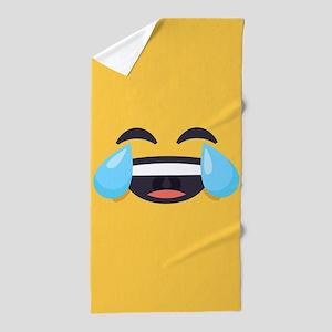 Cry Laughing Emoji Face Beach Towel
