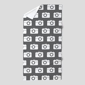 Gray and White Camera Illustration Pat Beach Towel