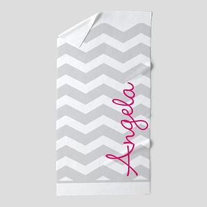 Personal name grey chevron Beach Towel