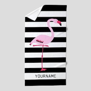 Pink Flamingo Stripes Personalized Beach Towel