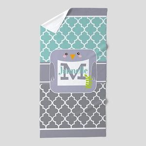 Mint Green Quatrefoil Pattern Custom Beach Towel